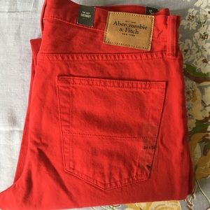 Men's Abercrombie & Fitch Red Skinny Jeans